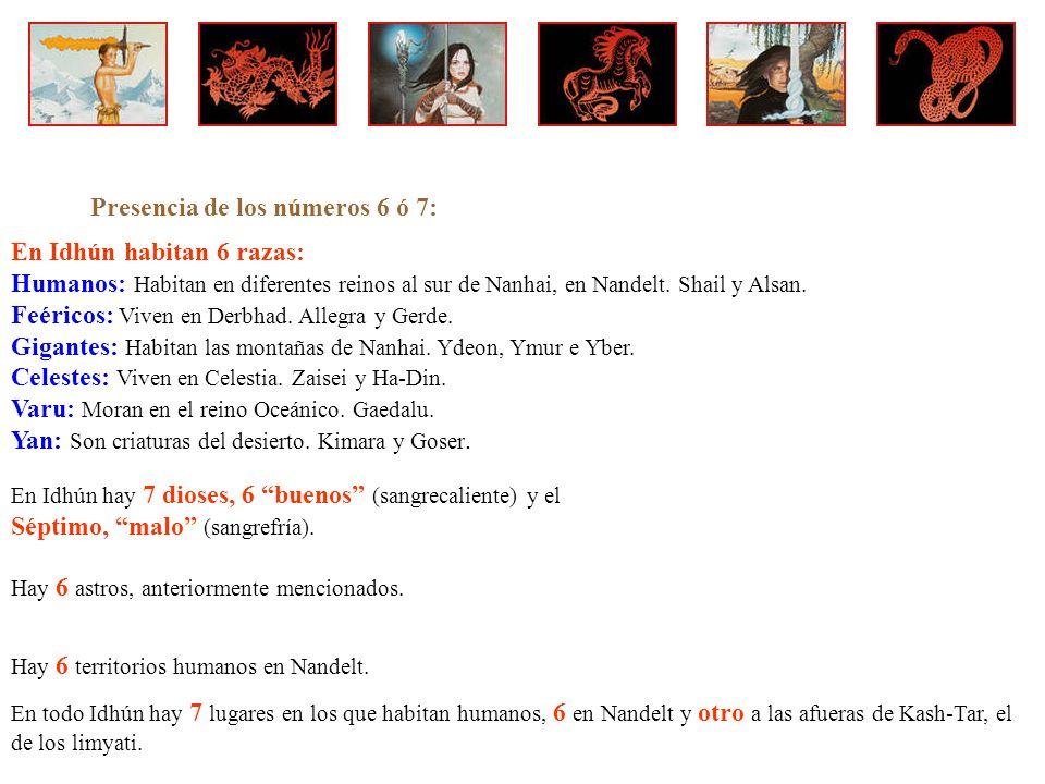 Presencia de los números 6 ó 7: En Idhún habitan 6 razas: Humanos: Habitan en diferentes reinos al sur de Nanhai, en Nandelt.