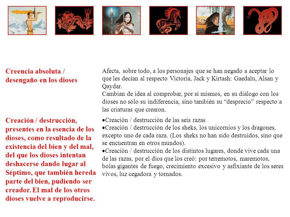 Creencia absoluta / desengaño en los dioses Afecta, sobre todo, a los personajes que se han negado a aceptar lo que les decían al respecto Victoria, Jack y Kirtash: Gaedalu, Alsan y Qaydar.
