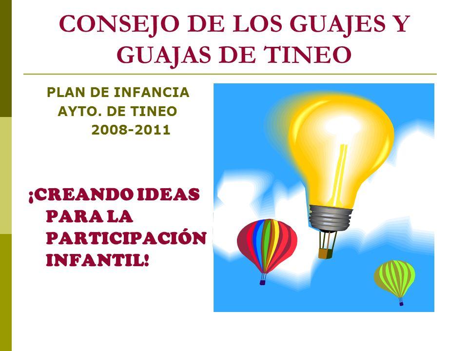CONSEJO DE LOS GUAJES Y GUAJAS DE TINEO PLAN DE INFANCIA AYTO. DE TINEO 2008-2011 ¡CREANDO IDEAS PARA LA PARTICIPACIÓN INFANTIL!