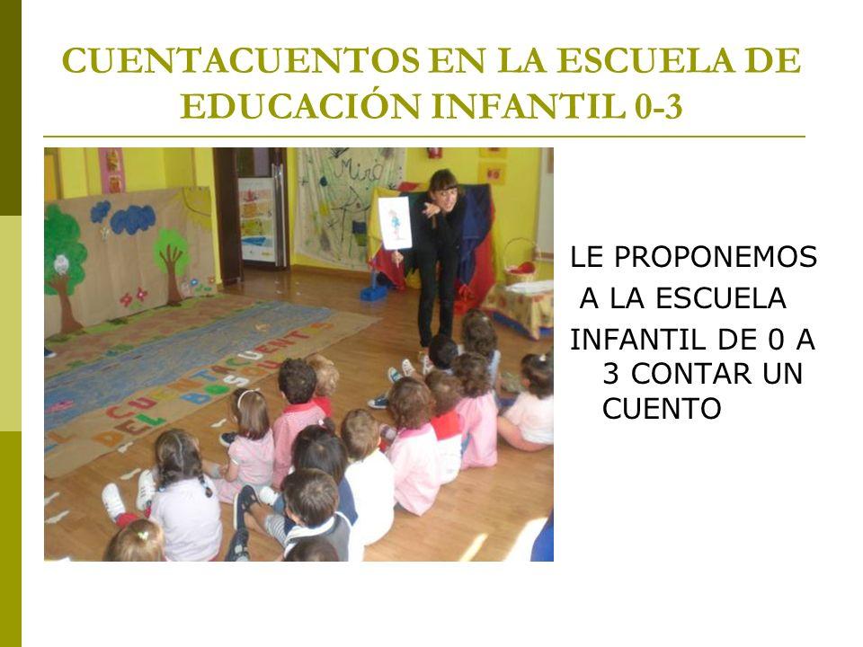 CUENTACUENTOS EN LA ESCUELA DE EDUCACIÓN INFANTIL 0-3 LE PROPONEMOS A LA ESCUELA INFANTIL DE 0 A 3 CONTAR UN CUENTO