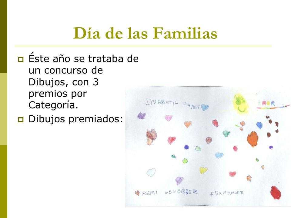 Día de las Familias Éste año se trataba de un concurso de Dibujos, con 3 premios por Categoría. Dibujos premiados: