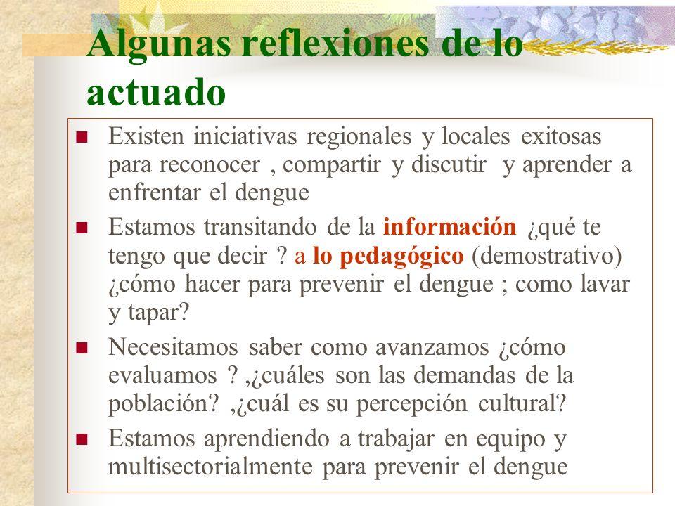 Algunas reflexiones de lo actuado Existen iniciativas regionales y locales exitosas para reconocer, compartir y discutir y aprender a enfrentar el den