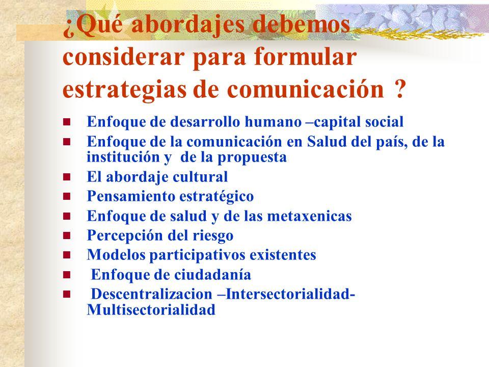 ¿Qué abordajes debemos considerar para formular estrategias de comunicación ? Enfoque de desarrollo humano –capital social Enfoque de la comunicación