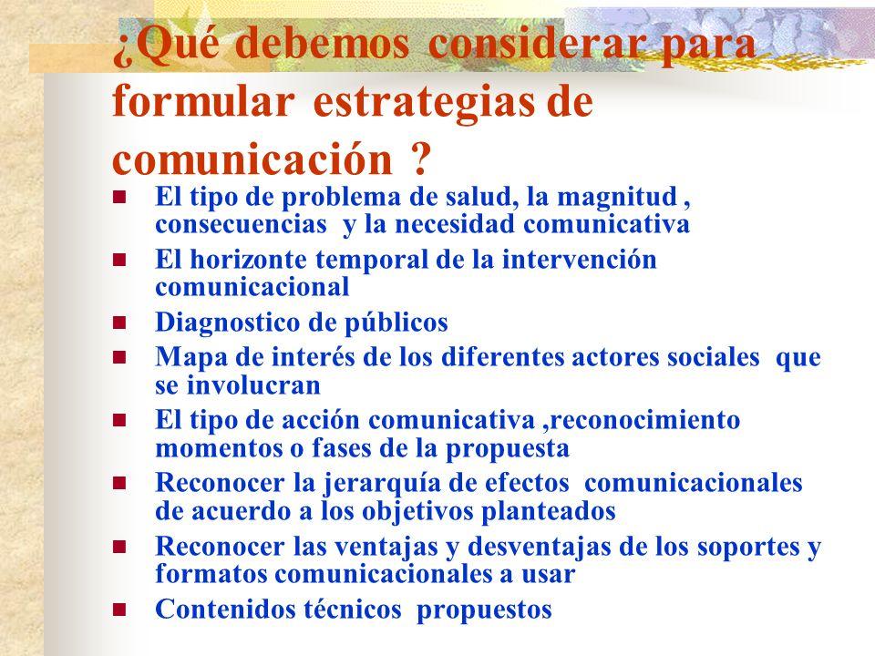 ¿Qué debemos considerar para formular estrategias de comunicación ? El tipo de problema de salud, la magnitud, consecuencias y la necesidad comunicati