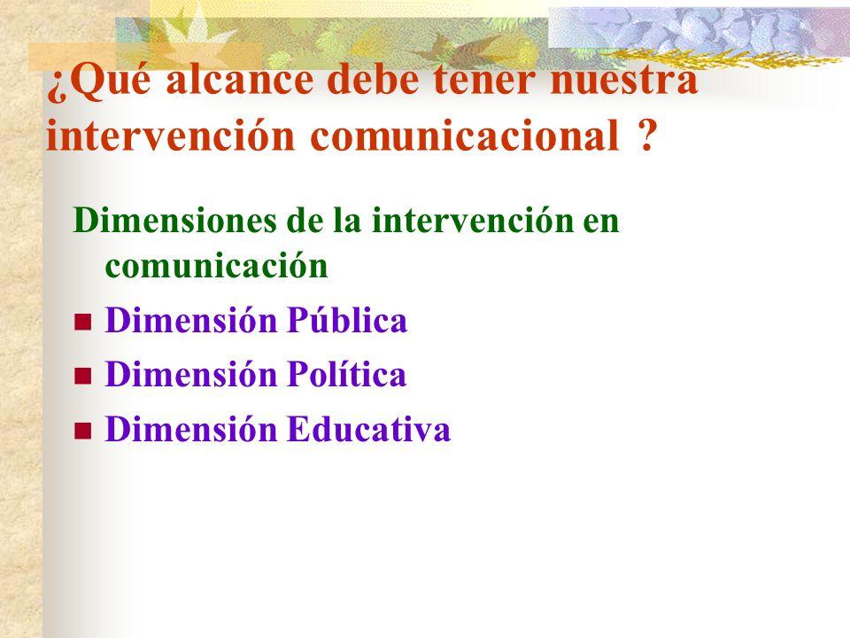 ¿Qué alcance debe tener nuestra intervención comunicacional ? Dimensiones de la intervención en comunicación Dimensión Pública Dimensión Política Dime