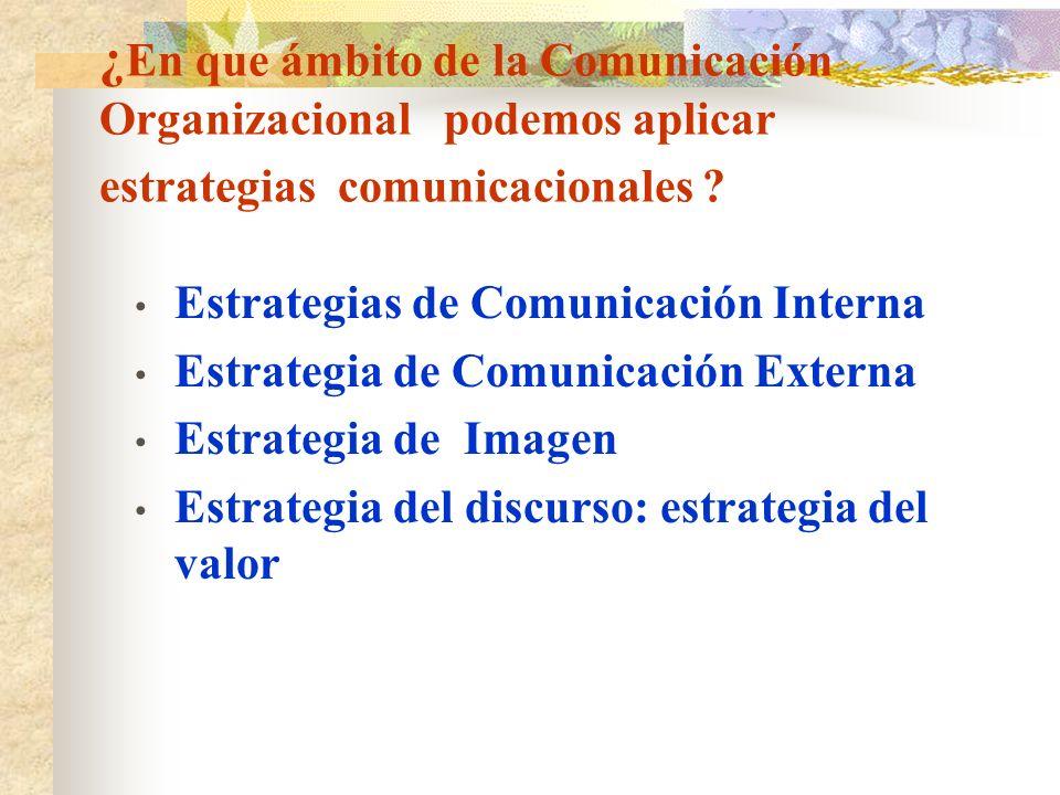 ¿ En que ámbito de la Comunicación Organizacional podemos aplicar estrategias comunicacionales ? Estrategias de Comunicación Interna Estrategia de Com