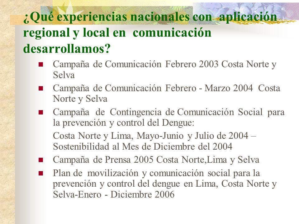 ¿Qué experiencias nacionales con aplicación regional y local en comunicación desarrollamos? Campaña de Comunicación Febrero 2003 Costa Norte y Selva C