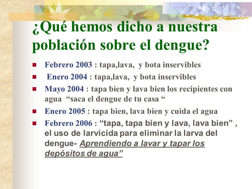 ¿Qué hemos dicho a nuestra población sobre el dengue? Febrero 2003 : tapa,lava, y bota inservibles Enero 2004 : tapa,lava, y bota inservibles Mayo 200
