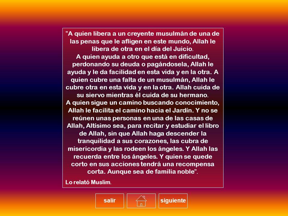 A quien libera a un creyente musulmán de una de las penas que le afligen en este mundo, Allah le libera de otra en el día del Juicio.