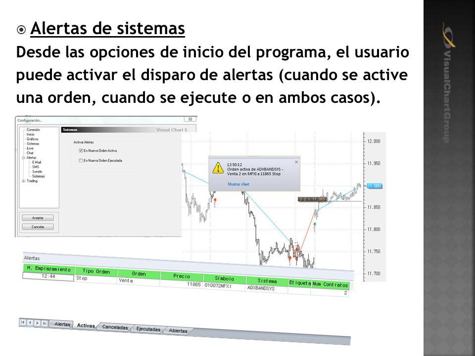 Alertas de sistemas Desde las opciones de inicio del programa, el usuario puede activar el disparo de alertas (cuando se active una orden, cuando se ejecute o en ambos casos).