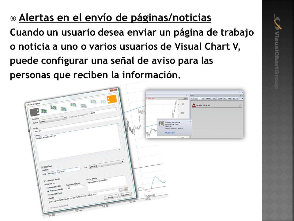 Alertas en el envío de páginas/noticias Cuando un usuario desea enviar un página de trabajo o noticia a uno o varios usuarios de Visual Chart V, puede configurar una señal de aviso para las personas que reciben la información.
