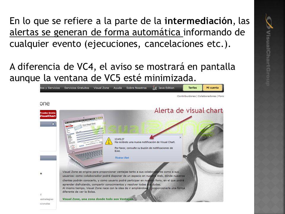 En lo que se refiere a la parte de la intermediación, las alertas se generan de forma automática informando de cualquier evento (ejecuciones, cancelaciones etc.).