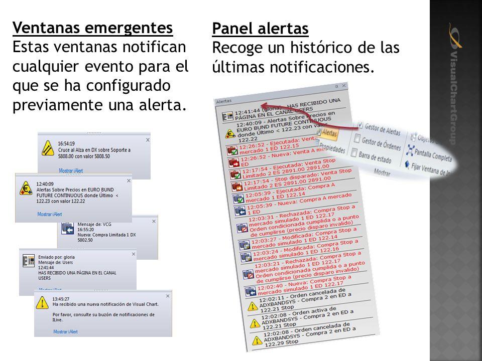 Ventanas emergentes Estas ventanas notifican cualquier evento para el que se ha configurado previamente una alerta.