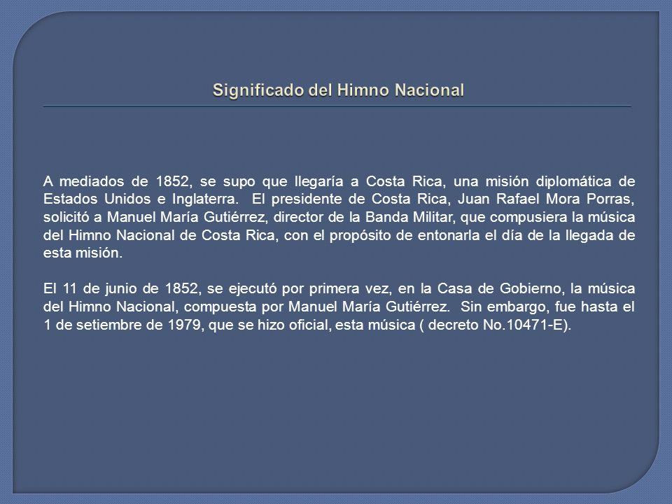 La letra del Himno Nacional fue creada en 1903, por José María Zeledón, quien ganó el concurso que se había organizado para buscarle letra a la música que ya existía.