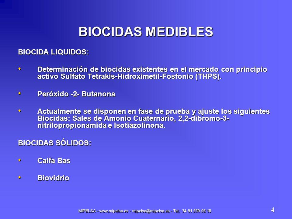 MIPELSA - www.mipelsa.es - mipelsa@mipelsa.es - Tel: 34 91 539 06 18 4 BIOCIDAS MEDIBLES BIOCIDA LIQUIDOS: Determinación de biocidas existentes en el