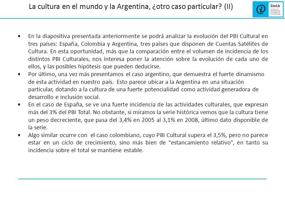 La cultura en el mundo y la Argentina, ¿otro caso particular? (II) En la diapositiva presentada anteriormente se podrá analizar la evolución del PBI C