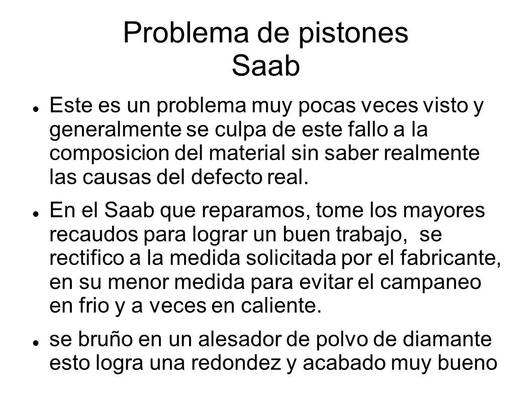 Problema de pistones Saab Este es un problema muy pocas veces visto y generalmente se culpa de este fallo a la composicion del material sin saber realmente las causas del defecto real.