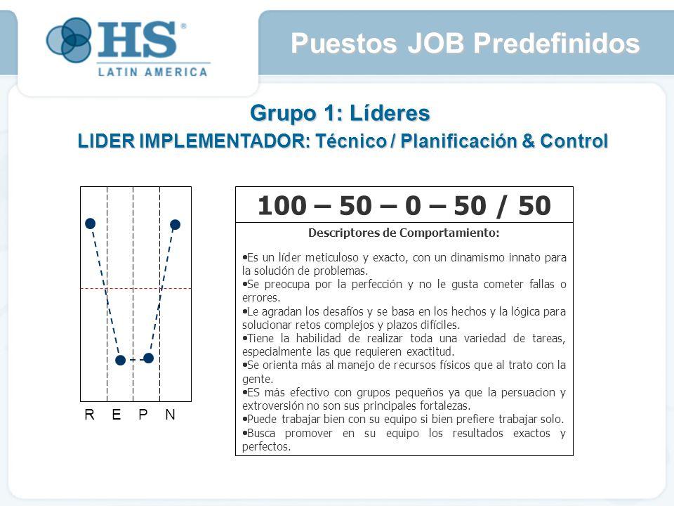 Grupo 1: Líderes LIDER IMPLEMENTADOR: Técnico / Planificación & Control R E P N 100 – 50 – 0 – 50 / 50 Descriptores de Comportamiento: Es un l í der meticuloso y exacto, con un dinamismo innato para la soluci ó n de problemas.