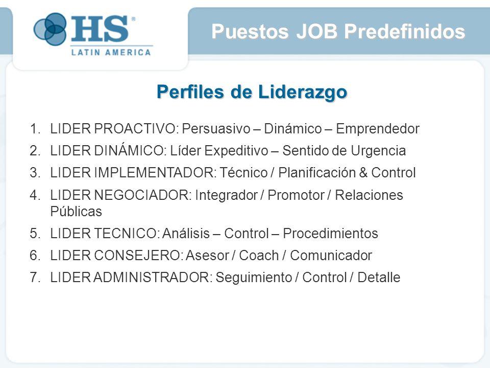 Perfiles de Liderazgo 1.LIDER PROACTIVO: Persuasivo – Dinámico – Emprendedor LIDER DINÁMICO: Líder Expeditivo – Sentido de Urgencia LIDER IMPLEMENTADOR: Técnico / Planificación & Control LIDER NEGOCIADOR: Integrador / Promotor / Relaciones Públicas LIDER TECNICO: Análisis – Control – Procedimientos LIDER CONSEJERO: Asesor / Coach / Comunicador LIDER ADMINISTRADOR: Seguimiento / Control / Detalle Puestos JOB Predefinidos