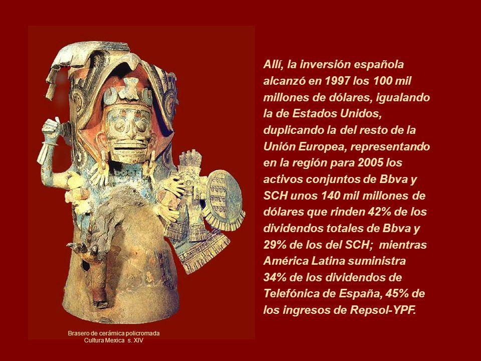 Allí, la inversión española alcanzó en 1997 los 100 mil millones de dólares, igualando la de Estados Unidos, duplicando la del resto de la Unión Europ