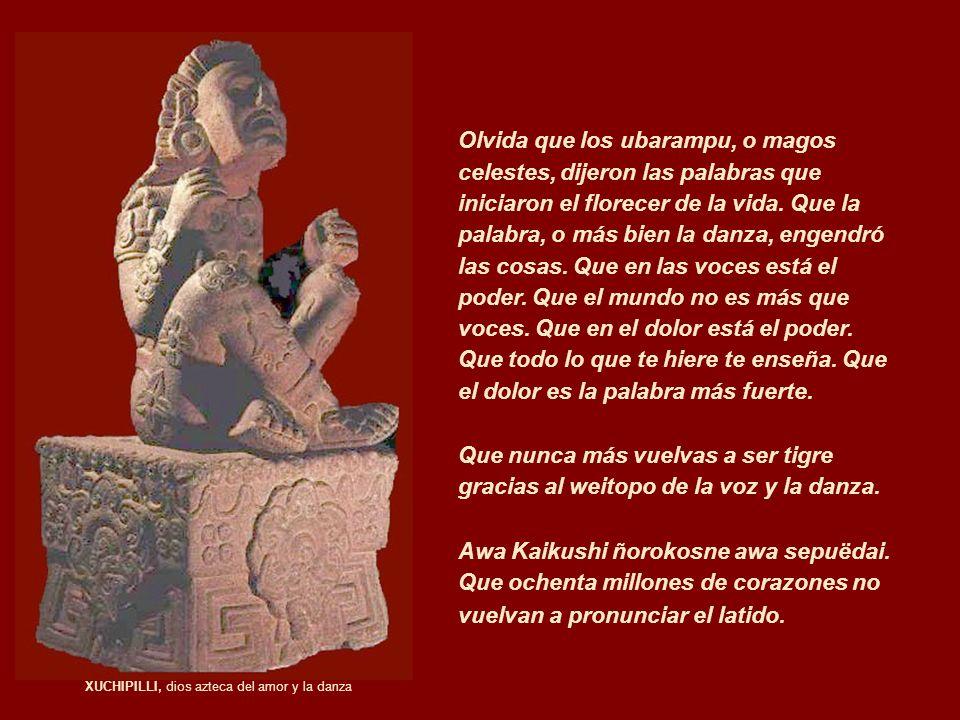 XUCHIPILLI, dios azteca del amor y la danza Olvida que los ubarampu, o magos celestes, dijeron las palabras que iniciaron el florecer de la vida. Que