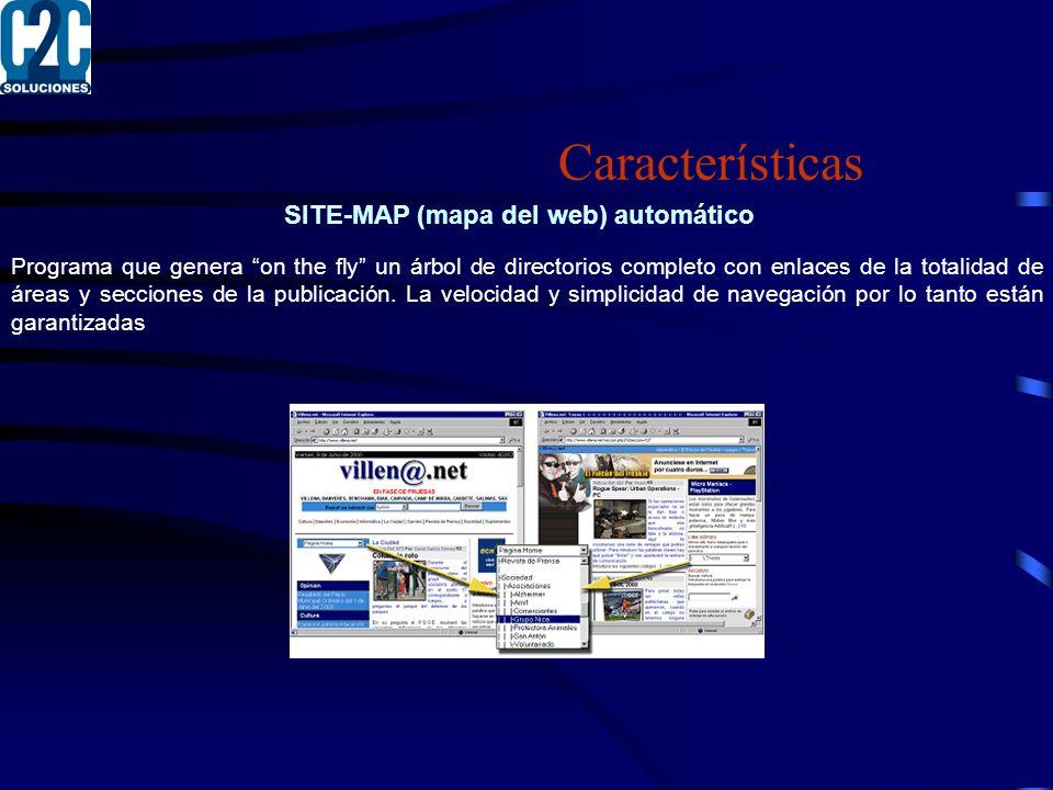 SITE-MAP (mapa del web) automático Programa que genera on the fly un árbol de directorios completo con enlaces de la totalidad de áreas y secciones de la publicación.