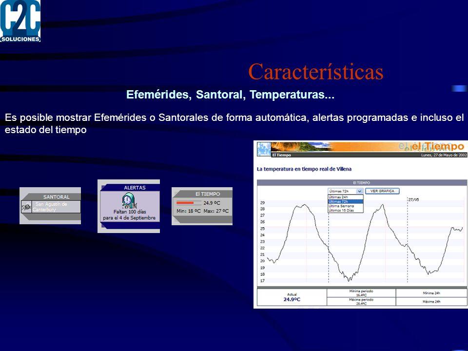 Efemérides, Santoral, Temperaturas...