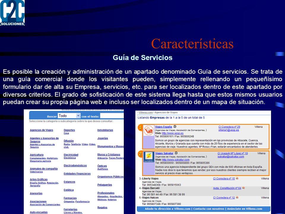 Guía de Servicios Es posible la creación y administración de un apartado denominado Guía de servicios.