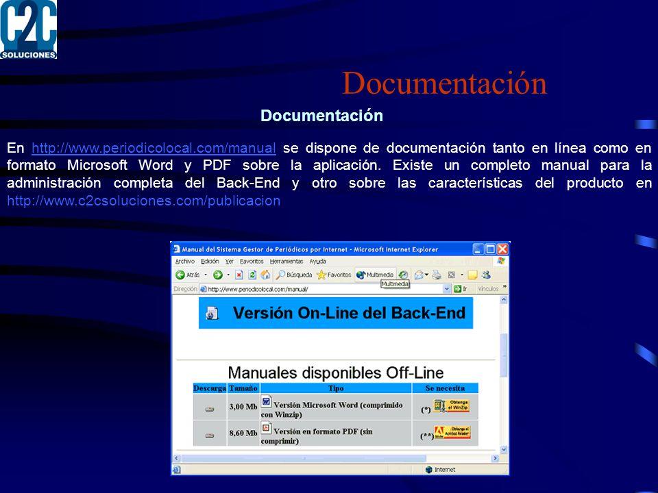 Documentación En http://www.periodicolocal.com/manual se dispone de documentación tanto en línea como en formato Microsoft Word y PDF sobre la aplicación.