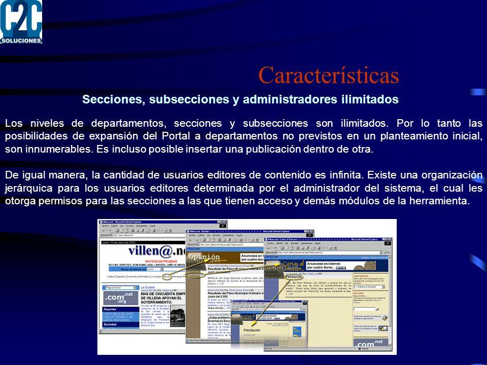 Secciones, subsecciones y administradores ilimitados Los niveles de departamentos, secciones y subsecciones son ilimitados.