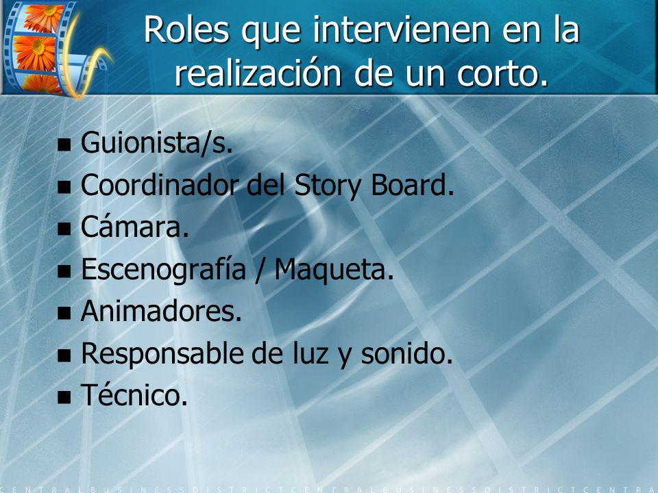 Roles que intervienen en la realización de un corto. Guionista/s. Coordinador del Story Board. Cámara. Escenografía / Maqueta. Animadores. Responsable