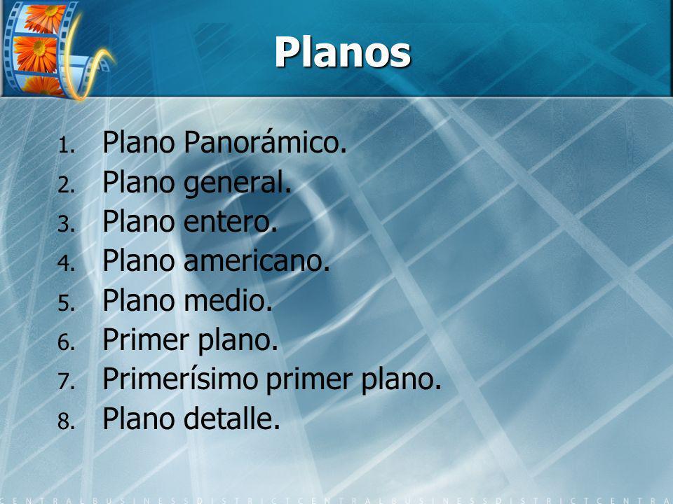 Planos 1. 1. Plano Panorámico. 2. 2. Plano general. 3. 3. Plano entero. 4. 4. Plano americano. 5. 5. Plano medio. 6. 6. Primer plano. 7. 7. Primerísim