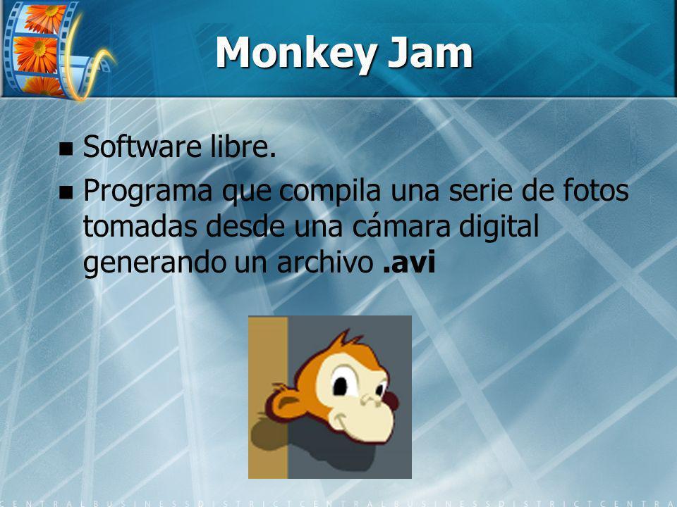 Monkey Jam Software libre. Programa que compila una serie de fotos tomadas desde una cámara digital generando un archivo.avi
