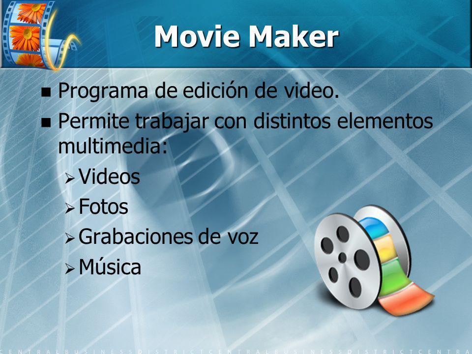 Movie Maker Programa de edición de video. Permite trabajar con distintos elementos multimedia: Videos Fotos Grabaciones de voz Música