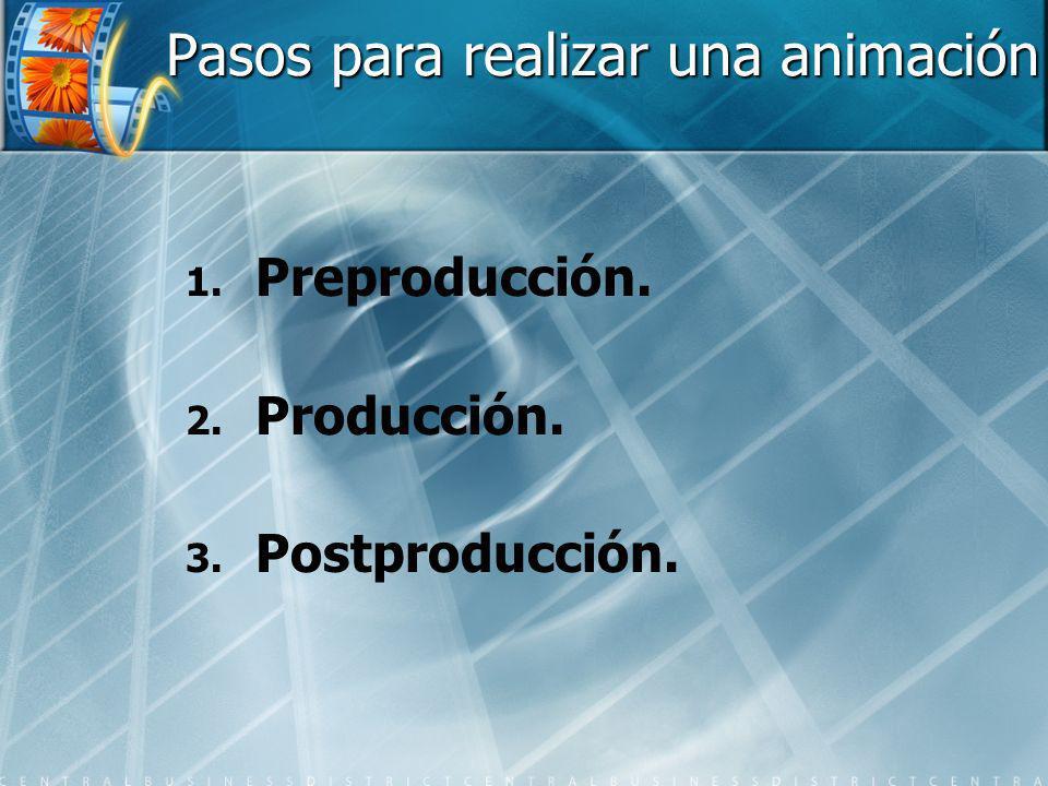 Pasos para realizar una animación 1. 1. Preproducción. 2. 2. Producción. 3. 3. Postproducción.