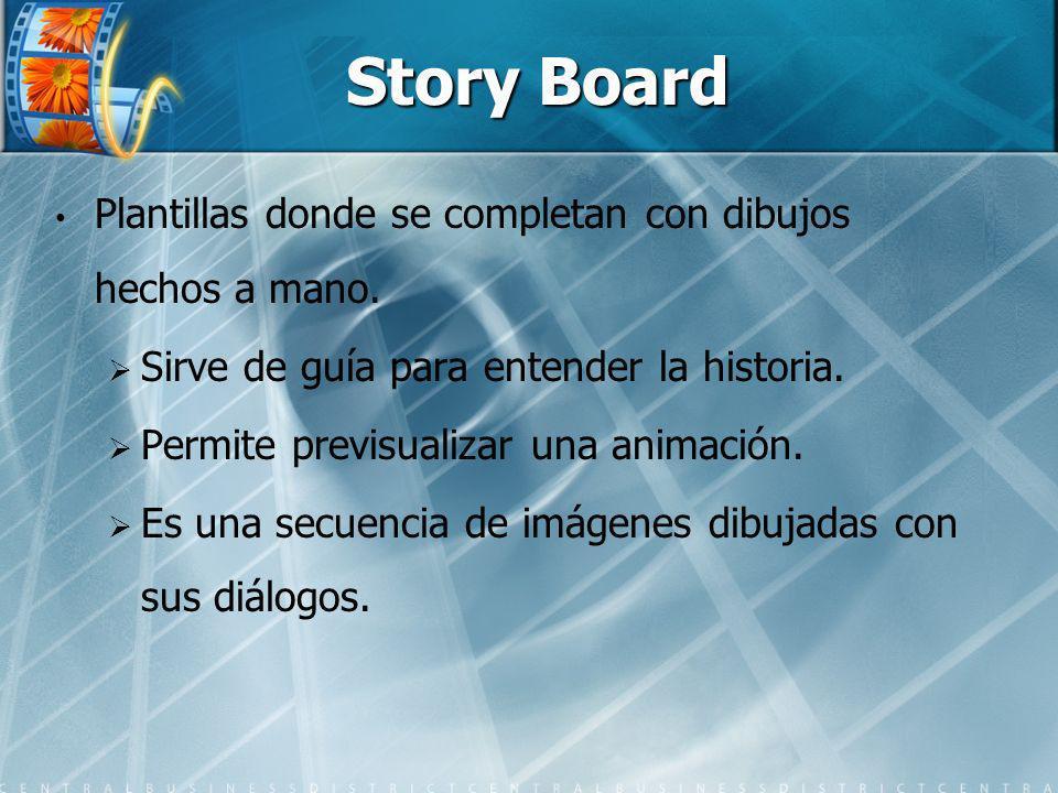 Story Board Plantillas donde se completan con dibujos hechos a mano. Sirve de guía para entender la historia. Permite previsualizar una animación. Es