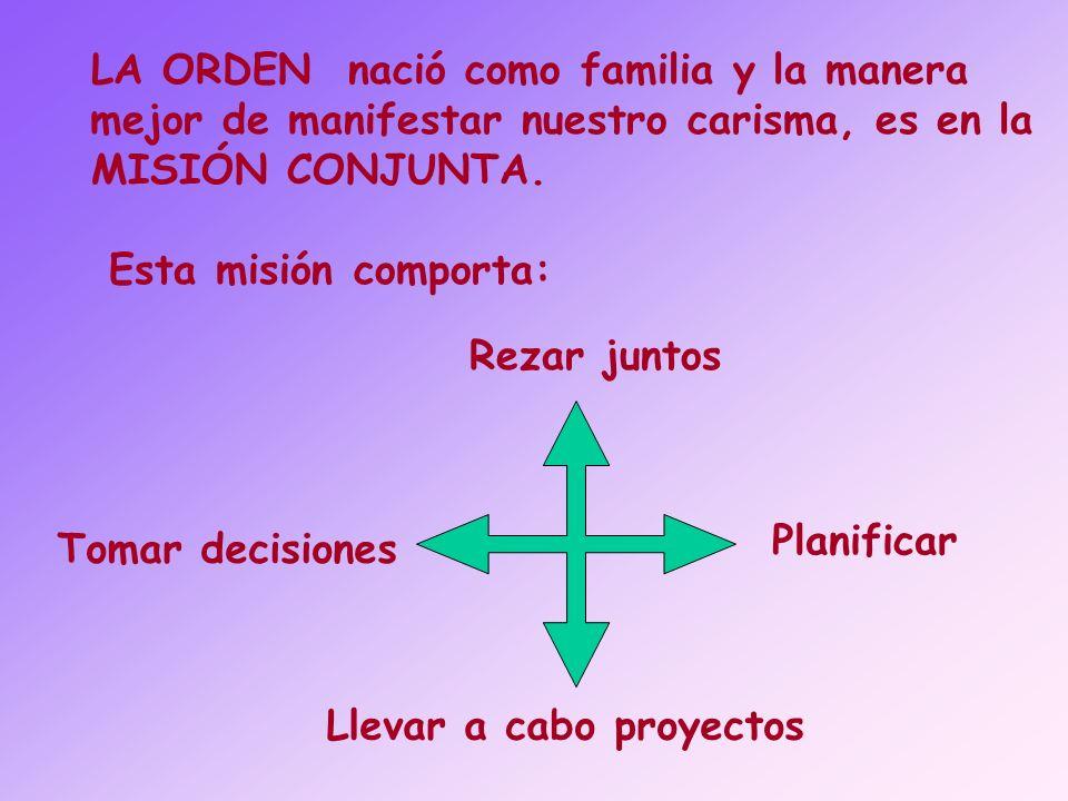 LA ORDEN nació como familia y la manera mejor de manifestar nuestro carisma, es en la MISIÓN CONJUNTA. Esta misión comporta: Rezar juntos Planificar T