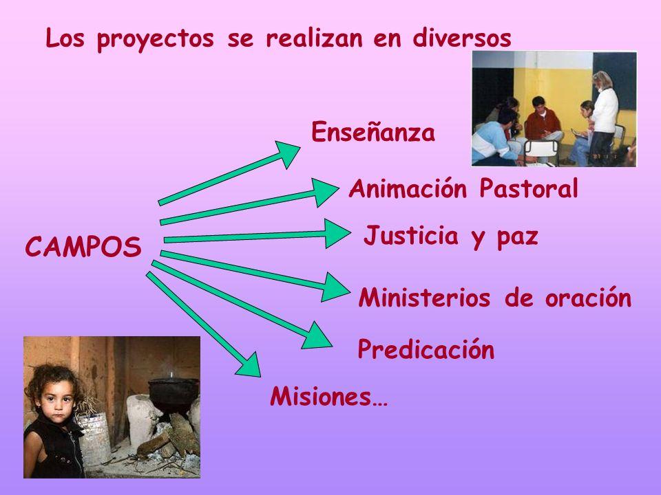 Los proyectos se realizan en diversos CAMPOS Enseñanza Ministerios de oración Predicación Justicia y paz Animación Pastoral Misiones…