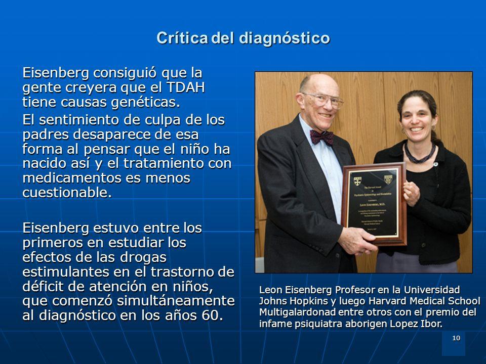 10 Crítica del diagnóstico Eisenberg consiguió que la gente creyera que el TDAH tiene causas genéticas. El sentimiento de culpa de los padres desapare