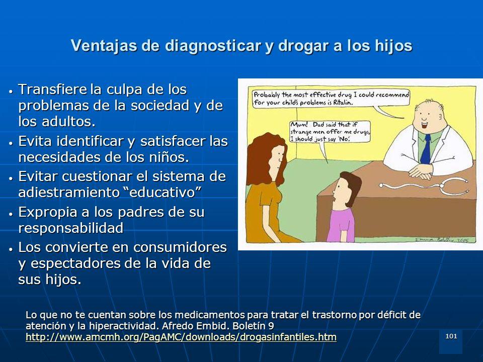 101 Ventajas de diagnosticar y drogar a los hijos Transfiere la culpa de los problemas de la sociedad y de los adultos. Transfiere la culpa de los pro