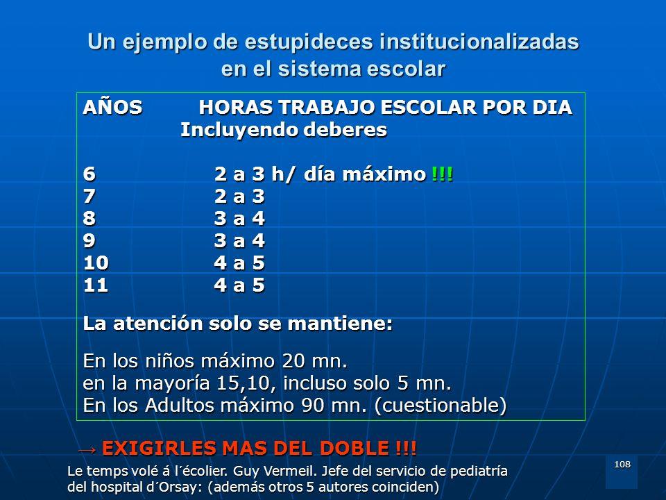 108 Un ejemplo de estupideces institucionalizadas en el sistema escolar AÑOS HORAS TRABAJO ESCOLAR POR DIA Incluyendo deberes 62 a 3 h/ día máximo !!!