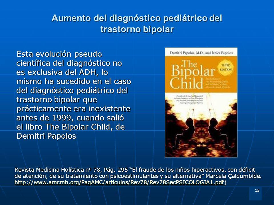 15 Aumento del diagnóstico pediátrico del trastorno bipolar Esta evolución pseudo científica del diagnóstico no es exclusiva del ADH, lo mismo ha suce