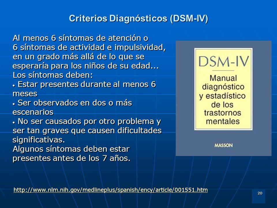 20 Criterios Diagnósticos (DSM-IV) Al menos 6 síntomas de atención o 6 síntomas de actividad e impulsividad, en un grado más allá de lo que se esperar