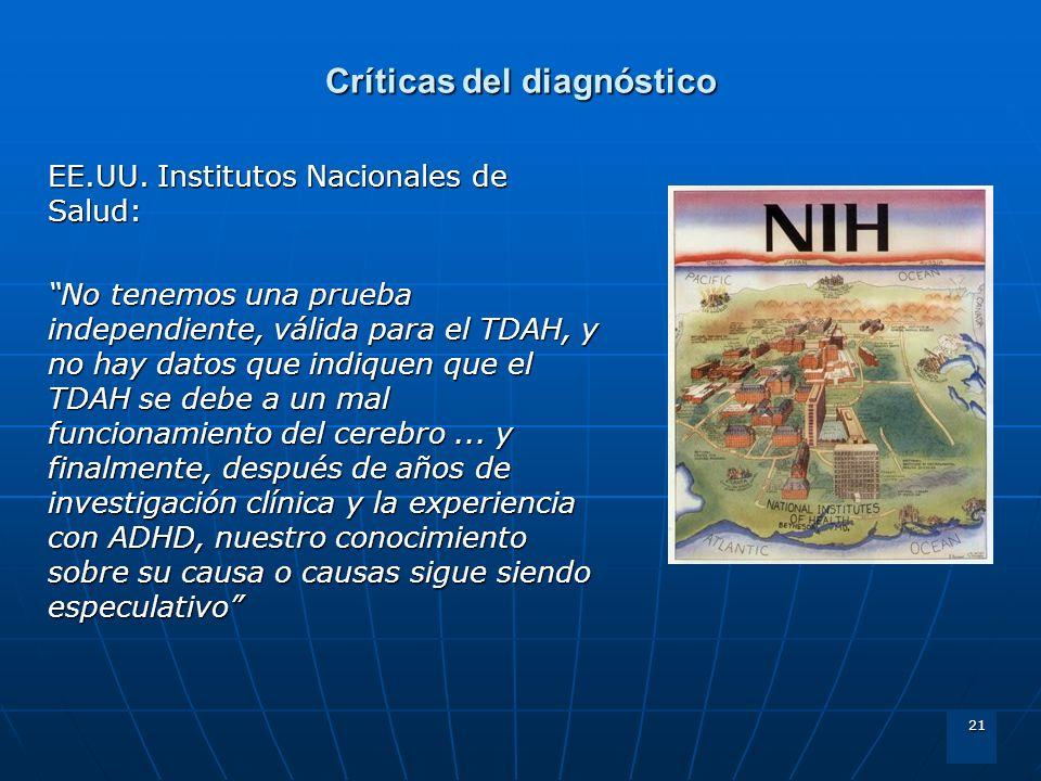 21 Críticas del diagnóstico EE.UU. Institutos Nacionales de Salud: No tenemos una prueba independiente, válida para el TDAH, y no hay datos que indiqu