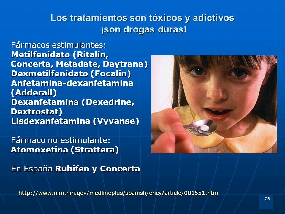 36 Los tratamientos son tóxicos y adictivos ¡son drogas duras! Fármacos estimulantes: Metilfenidato (Ritalín, Concerta, Metadate, Daytrana) Dexmetilfe