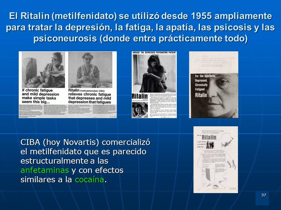 37 El Ritalin (metilfenidato) se utilizó desde 1955 ampliamente para tratar la depresión, la fatiga, la apatía, las psicosis y las psiconeurosis (dond