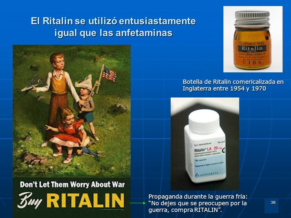 38 El Ritalin se utilizó entusiastamente igual que las anfetaminas Botella de Ritalin comericalizada en Inglaterra entre 1954 y 1970 Propaganda durant