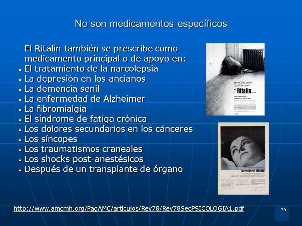 39 No son medicamentos específicos El Ritalín también se prescribe como medicamento principal o de apoyo en: El tratamiento de la narcolepsia El trata