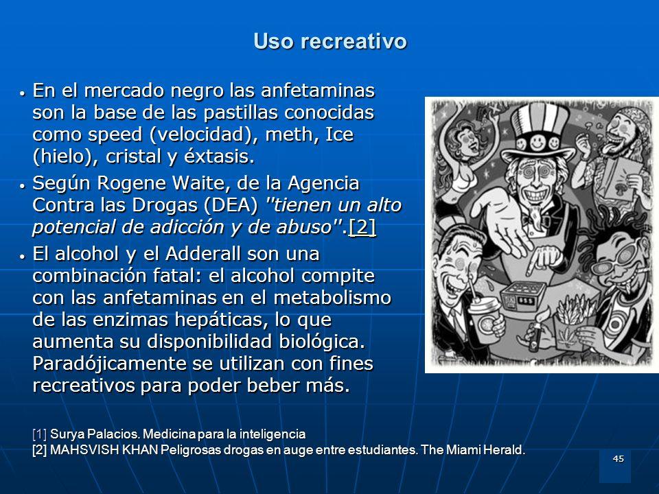 45 Uso recreativo En el mercado negro las anfetaminas son la base de las pastillas conocidas como speed (velocidad), meth, Ice (hielo), cristal y éxta