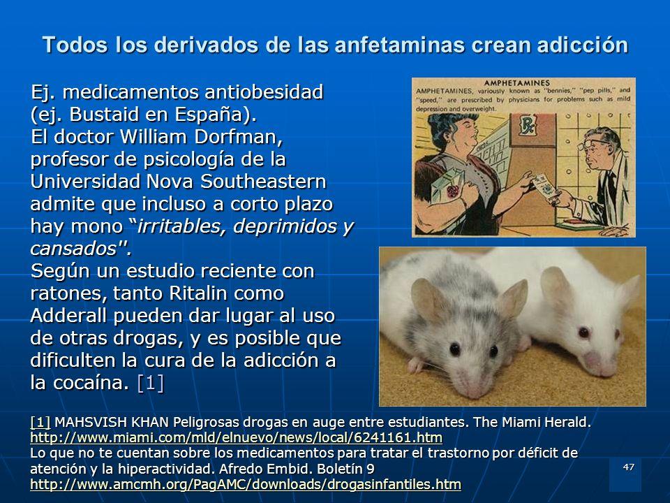 47 Todos los derivados de las anfetaminas crean adicción Ej. medicamentos antiobesidad (ej. Bustaid en España). El doctor William Dorfman, profesor de